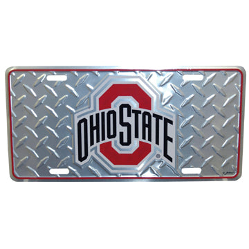 Ohio State University Chrome Diamond Plate Car Tag