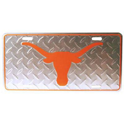 University of Texas Chrome Diamond Plate Car Tag