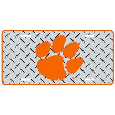 Clemson University Chrome Diamond Plate Car Tag