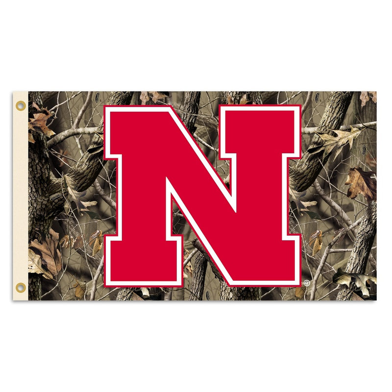 University of Nebraska Huskers Camo Flag