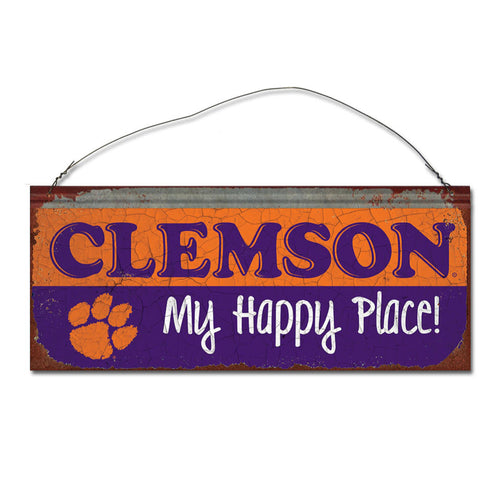 Clemson University Happy Place Metal Sign