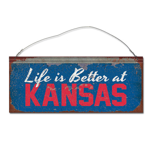 University of Kansas 'Life is Better' Tin Sign