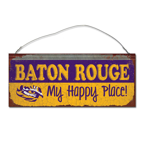 Louisiana State University Happy Place Metal Sign