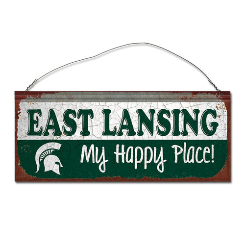 Michigan State University Happy Place Metal Sign