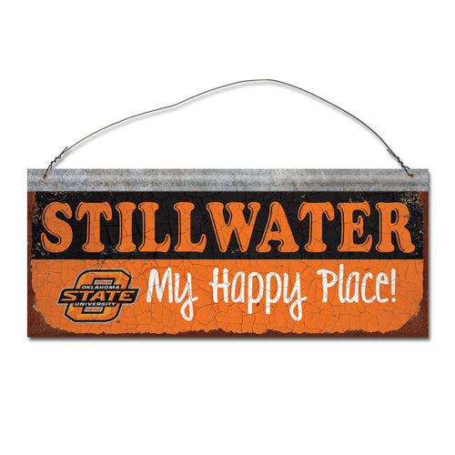 Oklahoma State University Happy Place Sign