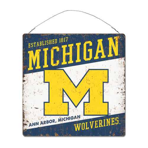 University of Michigan Large Tin 'Established' Sign