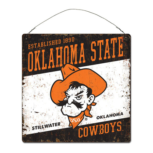 Oklahoma State University Large Tin 'Established' Sign
