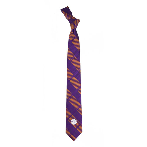 Clemson University Skinny Plaid Tie