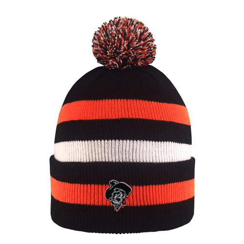 Oklahoma State University Knit Striped Pom Pom Beanie