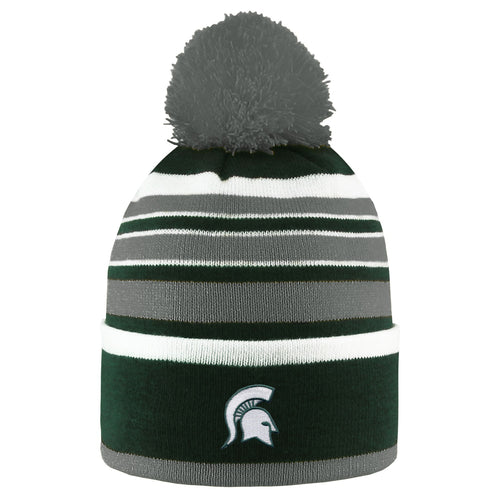 Michigan State University Bradshaw Striped Pom Beanie