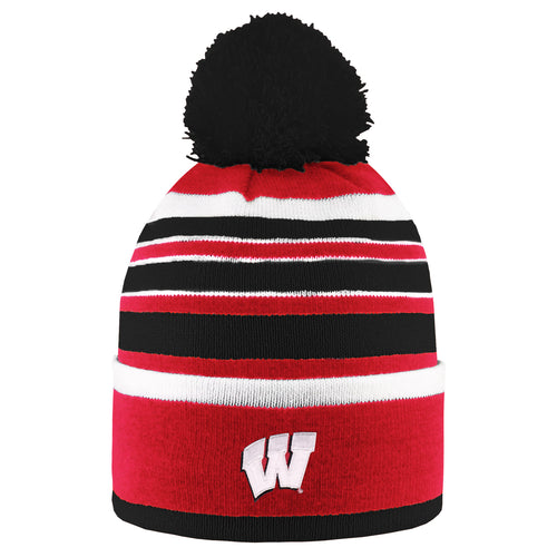 University of Wisconsin Badgers Bradshaw Striped Pom Beanie