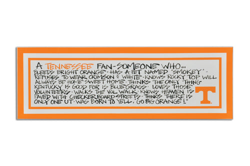 University of Tennessee Definition of a Fan Wooden Plaque