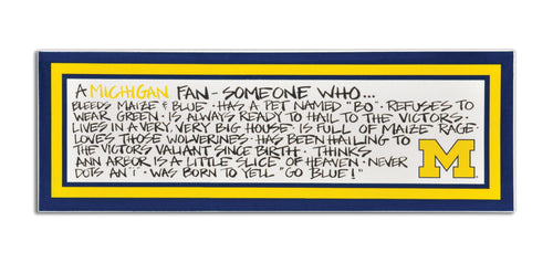 University of Michigan Definition of a Fan Wooden Plaque