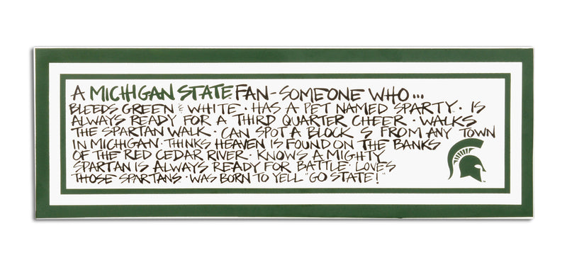 Michigan State University Definition of a Fan Wooden Plaque