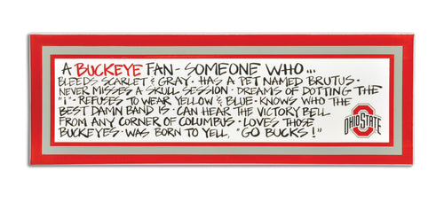 Ohio State University Definition of a Fan Wooden Plaque