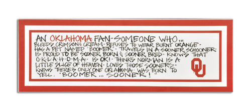 University of Oklahoma Definition of a Fan Wooden Plaque