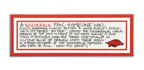 University of Arkansas Definition of a Fan Wooden Plaque