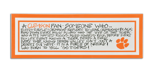 Clemson University Definition of a Fan Wooden Plaque