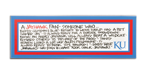 University of Kansas Definition of a Fan Wooden Plaque