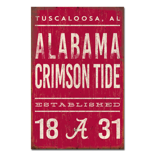 University of Alabama Tall Tin Sign