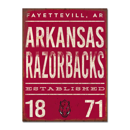 University of Arkansas Tall Tin Sign