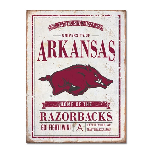University of Arkansas Vintage Tin Sign