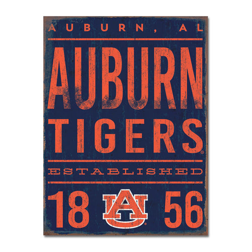 Auburn University Tall Tin Sign