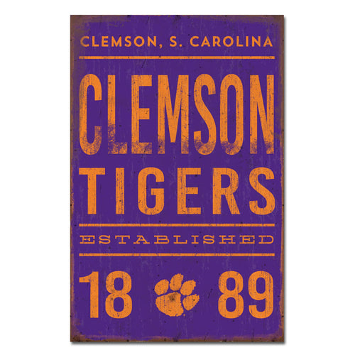 Clemson University Tall Tin Sign