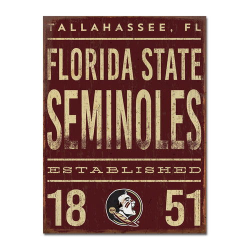 Florida State University Tall Tin Sign