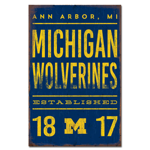 University of Michigan Tall Tin Sign