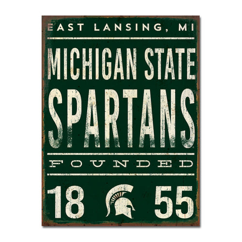 Michigan State University Tall Tin Sign