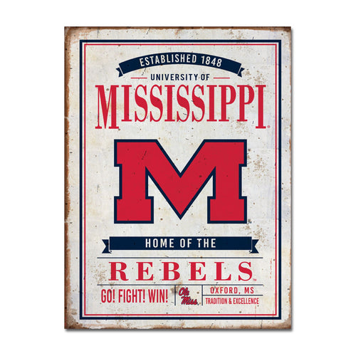 University of Mississippi Vintage Tin Sign