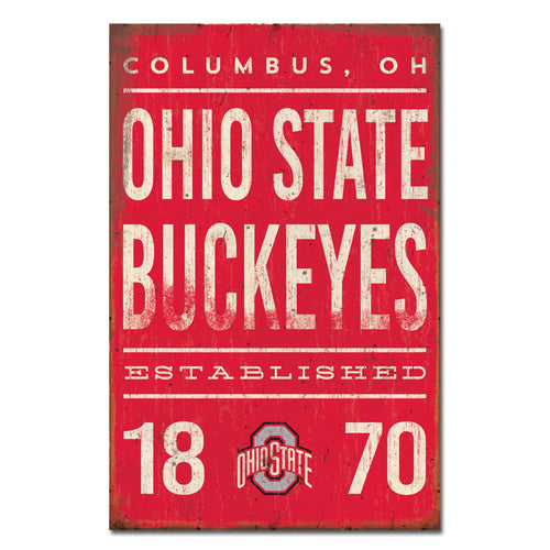 Ohio State University Tall Tin Sign