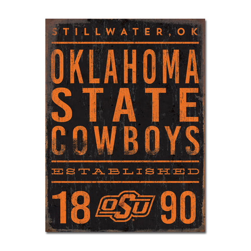 Oklahoma State University Tall Tin Sign