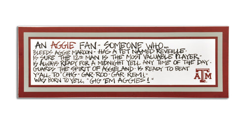 Texas A&M University Definition of a Fan Wooden Plaque