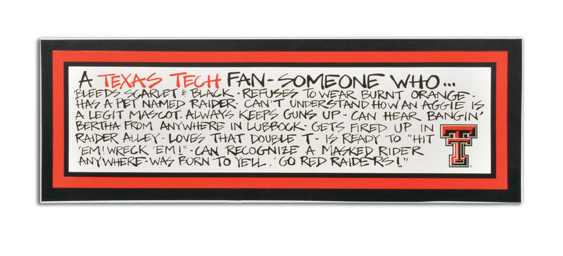Texas Tech University Definition of a Fan Wooden Plaque