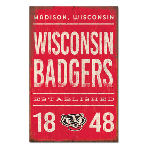 University of Wisconsin Tall Tin Sign