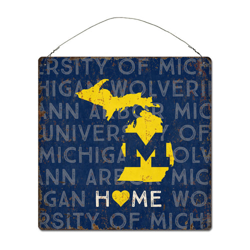 University of Michigan Home State Tin Sign