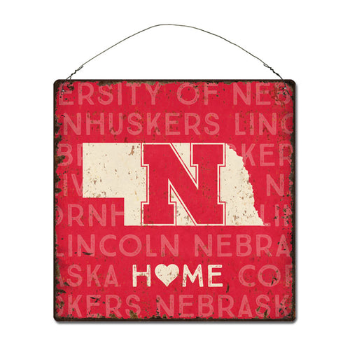University of Nebraska Home State Tin Sign