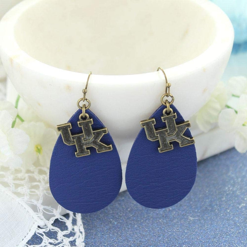 University of Kentucky Leather Tear Drop Earrings