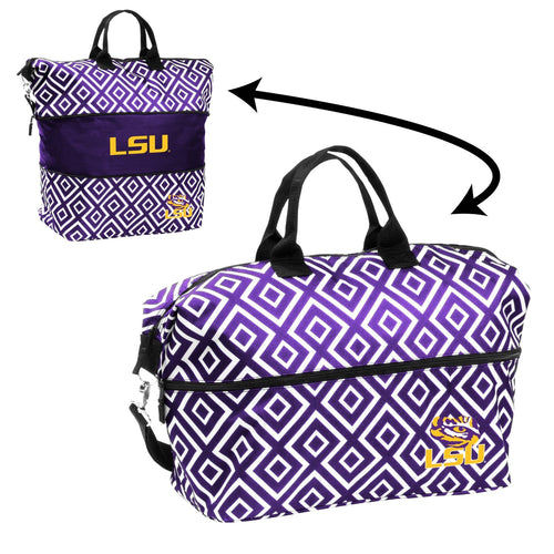 LSU Expandable Double Diamond Tote