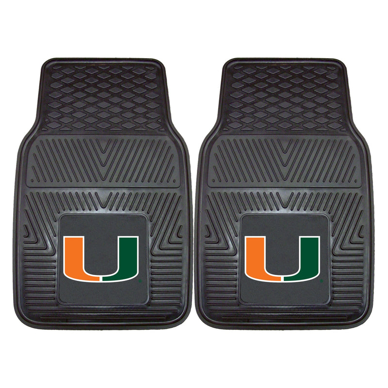 University of Miami Heavy Duty Vinyl Car Floor Mats (Set of 2)