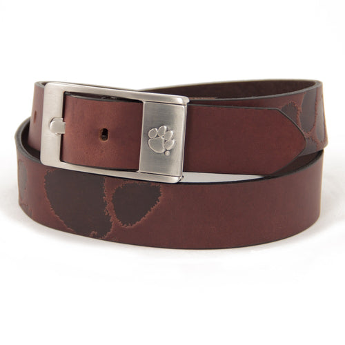 Clemson University Brandish Leather Belt