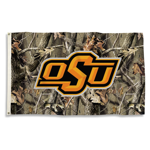 Oklahoma State University Interlock Camo Flag