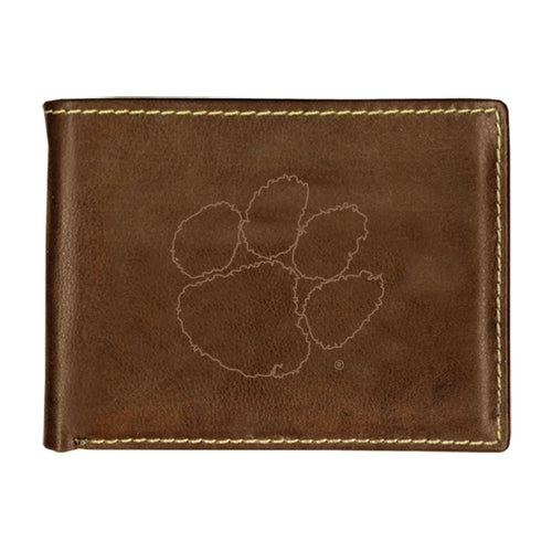 Clemson University Contrast Stitch Bifold Leather Wallet