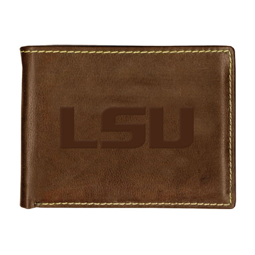 Louisiana State University Contrast Stitch Bifold Leather Wallet