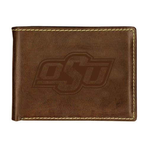 Oklahoma State University Contrast Stitch Bifold Leather Wallet