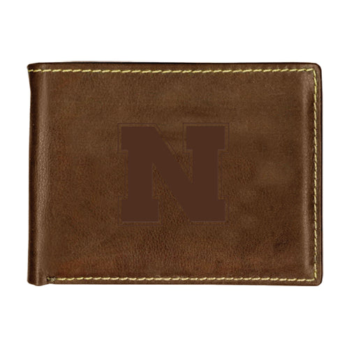 University of Nebraska Contrast Stitch Bifold Leather Wallet