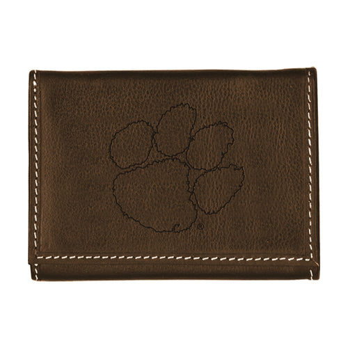 Clemson University Contrast Stitch Trifold Leather Wallet