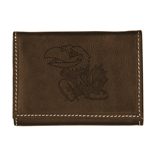 University of Kansas Contrast Stitch Trifold Leather Wallet